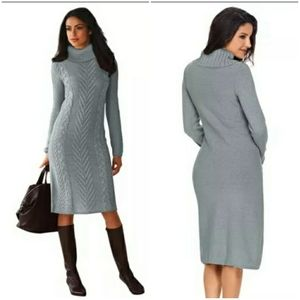 Gray Hand Knitted High Neck Sweater Dress L